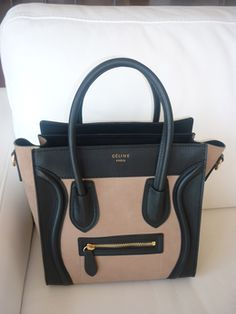 Celine bag - love the two-toned look taupe and black, and it probably feels like buttah