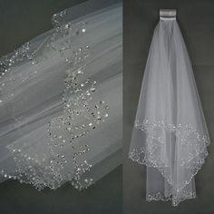 Hq 2t white/ivory Codo borde de cuentas de perlas Lentejuelas Boda Velo De Novia Con Peine in Ropa, calzado y accesorios, Ropa de boda y formal, Accesorios de novia | eBay