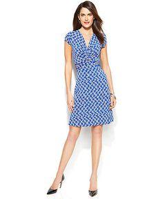 Anne Klein Cap-Sleeve Mixed-Houndstooth-Print Dress - Dresses - Women - Macy's