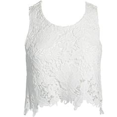 Sans Souci White crochet flyaway back crop tank top ($22) ❤ liked on Polyvore featuring tops, shirts, crop top, tank tops, tanks, white, crop shirt, crochet tank, crop tank and white tank