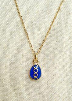 Blue Teardrop Necklace Simple Teardrop by CapriciousBijoux on Etsy, ¥1700