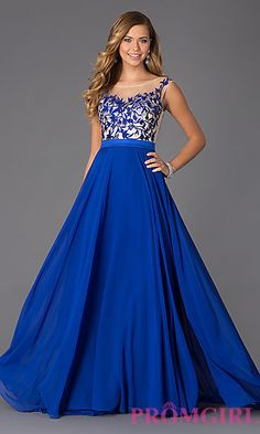 Sleeveless Floor Length Dress with Illusion Bodice at PromGirl.com