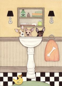Chihuahuas fill a sink at bath time / Lynch by watercolorqueen