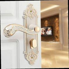 42.65$  Watch now - http://aliav8.worldwells.pw/go.php?t=32711586082 - Fashion Simple Continental Antique Mechanical Lock Interior Door Handle Lock Set Ivory White 42.65$