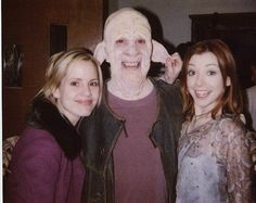 James C. Leary with Alyson Hannigan and Emma Caulfield on the set of Buffy.