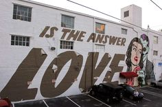 """Art Basel '14: DFace paints """"Is The Answer LOVE"""", a massive mural in Wynwood, Miami"""