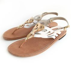 Sandals - White and Gold