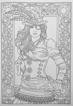 Adult Coloring page from Creative Haven Steampunk Fashions Coloring Book, Dover Publications. Artwork by Marty Noble Dover Coloring Pages, Adult Coloring Book Pages, Steampunk Images, Steampunk Fashion, Mandala Art, Creative Haven Coloring Books, Colorful Drawings, Copics, Bunt
