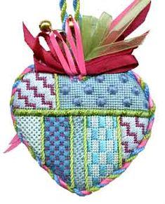 needlepoint heart ornament