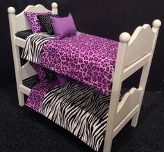 Purple Leopard Zebra Bunk Bed for 18 in American by BedsandThreads