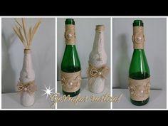 (482) DIY - Garrafas Rustica | Reciclando e decorando garrafas de vidro! - YouTube