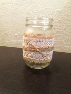 Burlap, Lace and Twine Pint Mason Jar Candle Holder or Vase. Rustic wedding decor.