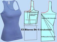 Camiseta básica sin mangas escote en U con patrón para tejido de punto