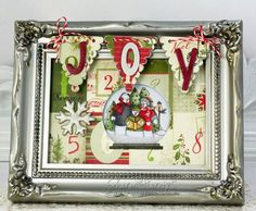 ** Christmas Altered Art Shaker. Made Out Of A Thriftcycled Picture Frame,  Scrapbooking Papers, Embellishments,  And Ribbon @ellenhutson