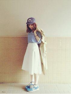 この前の爽やかコーデ(^O^) 白スカートお気に入り♡
