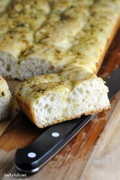 This simple no-knead Focaccia recipe is easy enough for the novice bread baker. Added pesto gives this classic a delicious twist!