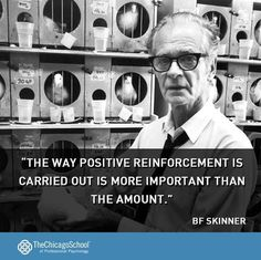"""""""The way positive reinforcement is carried out is more important than then amount"""" -bf Skinner. Psychology quote from http://www.thechicagoschool.edu/Home"""