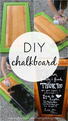 DIY chalkboard from a cabinet door. Such a cute project from @ABexchangeBlog!