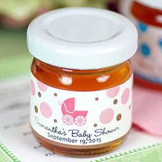 These Edible Baby Shower Gifts Are Only a Click Away: Personalized Baby Shower Honey Jars
