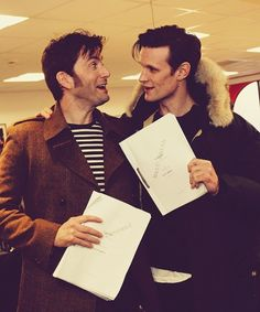 Matt Smith and David Tennant at the Doctor Who 50th Anniversary read-through. Gah!!!