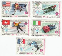 Olympics Postage Stamps: 1968, Lot of 12 different cancelled Olympic Games stamps, from Royalist Yemen: issued May 31, 1968, Winter Olympic Games from 1924 to 1968, Athletes and Flags. All 12 for $2