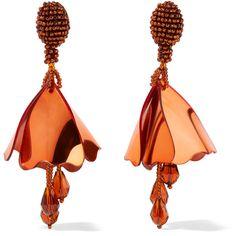 Oscar de la Renta Mini Impatiens beaded clip earrings ($470) ❤ liked on Polyvore featuring jewelry, earrings, oscar de la renta, copper earrings, anchor earrings, beading earrings and clip earrings
