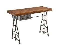 repurposed vintage american industrial mobile workstation or desk featuring elegantly designed cast iron bases and newly added tabletop