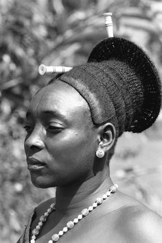 From Congo, a Mangbetu woman with a fine coiffe