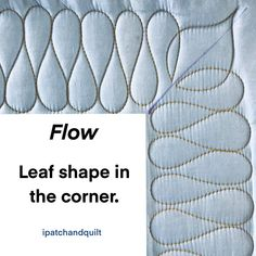 Quilting around the corner – type 4 – ipatchandquilt Quilting Stitch Patterns, Hand Quilting Designs, Machine Quilting Patterns, Quilting Stencils, Quilting Templates, Quilt Stitching, Patchwork Quilting, Longarm Quilting, Free Motion Quilting