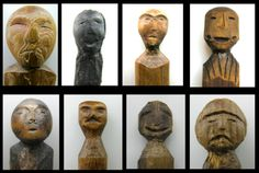 Wooden dolls were used by prehistoric Bering Sea Eskimos in religious ceremonies but were also made into children's toys. This collection of wooden dolls from the Nunalleq site, excavated by the University of Aberdeen and the Yup'ik village of Quinhagak, date back to 1500-1600 CE. The range of expressions and abstract and realistic representations of human faces likely attest to both the variety of carvers and functions of these objects. (University of Aberdeen/Qanirtuuq, Inc.)