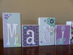 Baby Name Blocks, Custom Girl Room Decor, Personalized Name Block Letters Custom Baby Nursery Block Sign Purple Turquoise, Flower Pattern