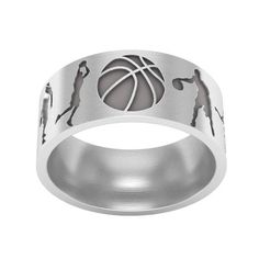 Basketball Band Ring in Sterling Silver Metal, Basketball Ring, Basketball Jewelry, Sports Band Ring Silver Wedding Rings, Wedding Ring Bands, Name Jewelry, Jewelry Rings, Basketball Jewelry, Cat Ring, Basketball Motivation, Basketball Memes, Slippers