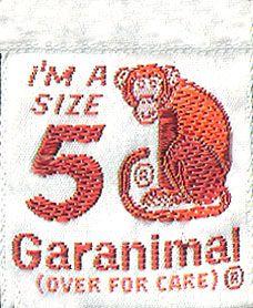 A monkey goes with a monkey not a zebra! 1970's Garanimals tags