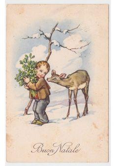 1950cartolina FP TEL augurale d'epoca Natale neve bambino rami vischio cerbiatto