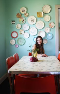 omg this table. inspired to find a formica top that can accommodate the space in a breakfast nook for a home I have not yet purchased...