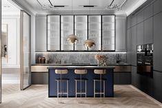 Grey Based Neoclassical Interior Design With Muted & Metallic Accents Kitchen – Home Decoration Apartment Interior Design, Interior Design Kitchen, Modern Interior Design, Kitchen Decor, Modern Classic Interior, Design Bathroom, Neoclassical Interior Design, Home Luxury, Grey Kitchen Designs