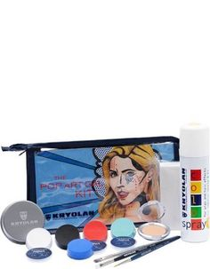 Kryolan The Pop Art Gal Costume Makeup Kit 3009/01. 12 Products. Visual Step by Step Guide. Professional Grade.