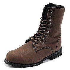 Mens Retro Punk Hightop Combat Boots Lace up Faux Leather Shoes  Brown  US Size 7 * Want additional info? Click on the image.(This is an Amazon affiliate link)