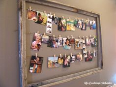 How to print instagrams and string them up in a large frame.  This is super easy and vintage looking!