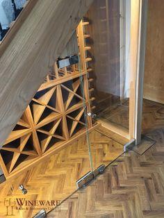Bespoke under stairs wine racking in oak! Under Stairs Wine Cellar, Wine Cellar Basement, Stair Storage, Wine Storage, Oak Wine Rack, Home Wine Cellars, Ceiling Materials, Basement Inspiration, Italian Wine