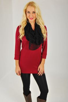 This tunic or top is better than ever! Wear her anyway you want, but know for sure that you'll be living in this style all season long. Scoop neck with 3/4 sleeves. Made of 94% rayon and 6% spandex. Not sheer and super soft! Marissa is 5,5″ tall and a size 2. She is wearing […]