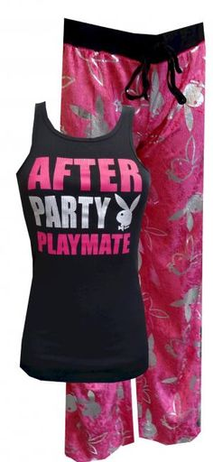 Playboy Bunny After Party Playmate Pajama Set  Want to make your intentions clear? These sexy and comfy pajamas for women feature a black tank top with the a classic Playboy Rabbithead and the words After Party Playmate in hot pink and silver. The hot pink pants are super-soft crushed velvet with an all-over print of bunny heads in shiny silver foil. Pants have a black drawstring tie and elastic waist. Junior cut.