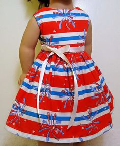 """Doll Clothes/Handmade/American Girl Dolls/Fits18""""/Fireworks and Striped Dress. #Handmade"""