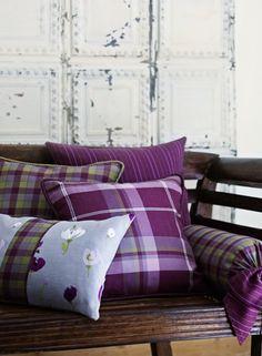 Bespoke Purple Tartan Pillows - love the purple plaid! Mauve, Floral Print Fabric, Print Fabrics, Tartan Fashion, Interior Decorating, Interior Design, Bench With Storage, Of Wallpaper, Decoration