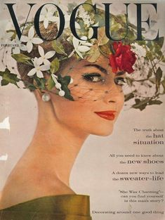 Vogue February 1960 - with a amazing hat on that lady...