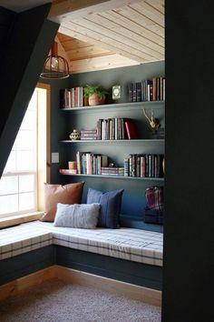 29 Cozy and Comfy Reading Nook Space Ideas Decor, Home Library, Comfy Reading, A Frame Cabin, House, Cozy Bedroom, Cozy Nook, Interior Design, Home Decor