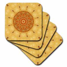 3dRose Garden Circle Gift Mandala, Ceramic Tile Coasters, set of 4