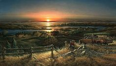 One of Redlin's most beloved images--a hunter and his golden retriever surveying the countryside at sunrise. Artist: Terry Redlin: 700 piece Panoramic jigsaw puzzle: Item size x Avon, Wall Art Prints, Fine Art Prints, Terry Redlin, Man And Dog, Country Art, Fauna, Wildlife Art, Western Art
