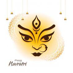 Maa Durga Face Design On Hindu Festival Shubh Navratri Backgroun PNG and Vector Happy Durga Puja, Durga Maa, Hanuman, Creative Poster Design, Creative Posters, Free Vector Graphics, Vector Art, Happy Navratri Wishes, Navratri Greetings