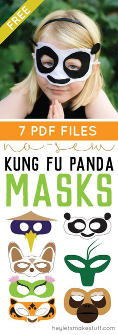 Is your kid (or you!) obsessed with Kung Fu Panda 3? Make these no-sew felt masks! There's Po, Tigress, Viper, Crane, Mantis, Monkey, and Master Shifu.